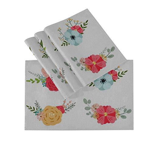 DUKAI Juego de manteles Individuales de 4, tapetes Lavables con Aislamiento termico, diseno de Ramo romantico Floral Floral botanico de 18 x 12 Pulgadas manteles Individuales para Mesa de Comedor