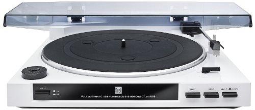 Dual DT 210 USB Schallplattenspieler mit Digitalisierungsfunktion (USB, Auto-Stop/Start-Funktion, Riemenantrieb, Magnet-Tonarmabnehmer-System) weiß