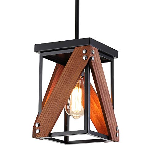 Rustic Industrial Wood Pendant Light with Metal and Wood Cage, One-Light Adjustable Rods Mini Pendant Lighting Fixture for Kitchen Island Dining Room Farmhouse, Black