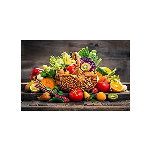 Cocina moderna Comedor Fruta y canasta Arte de la pared Pintura en lienzo Carteles e impresiones para la decoración de la habitación de la cocina 70x100cm Sin marco