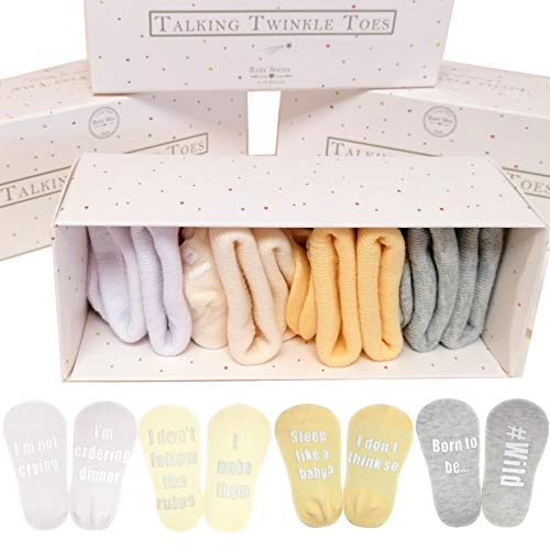 Baby Socks Gift Set Newborn Gift - 4 Pairs of fun sayings in Gift Box, 0-12 months