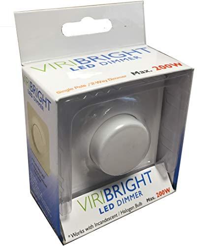 Viribright LED und Halogen Dimmer bis 200W, stufenloser Helligkeitsregler auch für herkömmliche Leuchtmittel und für Wechselschaltung, 2 Wege Technik weiss