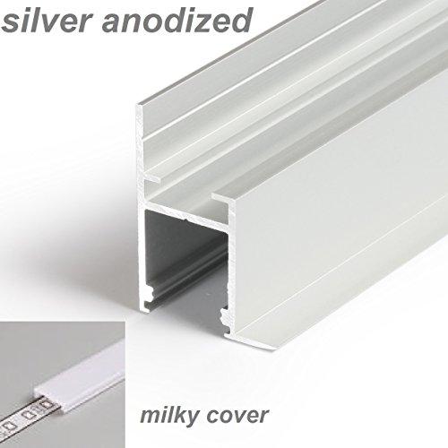 1m/100cm/1000mm lineair LED-profiel C1, zilver, geanodiseerd, melkachtige diffuser, voor gipsplaten - plafond, muur, vloer