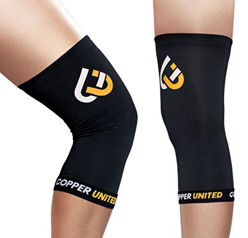 Copper United Knee Compression Sleeve, Support for Running, Sports, Joint Pain Relief, Arthritis and Injury Recovery, Infused Fit Support Brace, Protects Patella and Wear Anywhere, Single