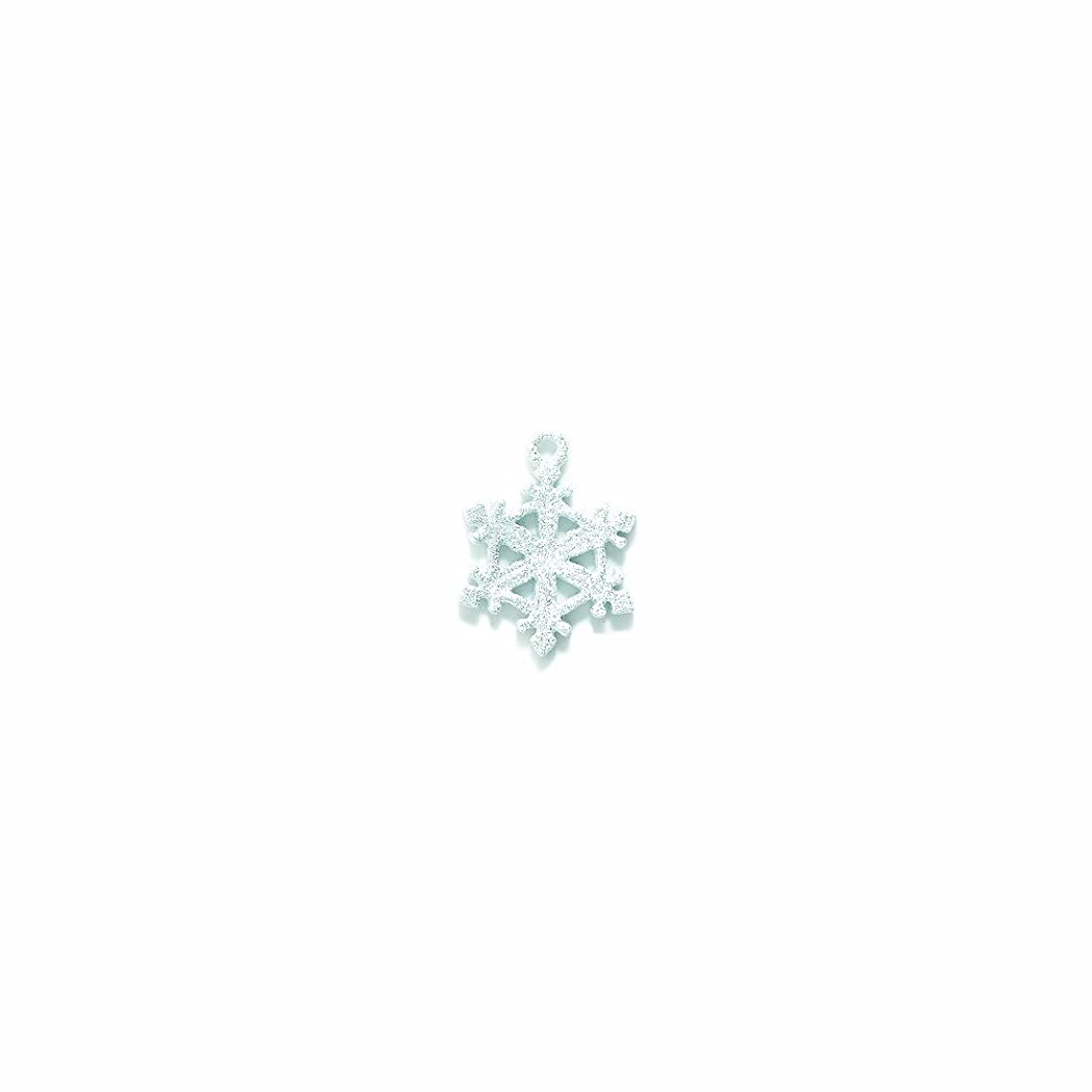 Shipwreck Beads Pewter Snowflake Charm with Silver Glitter, White, 20mm, 2-Piece