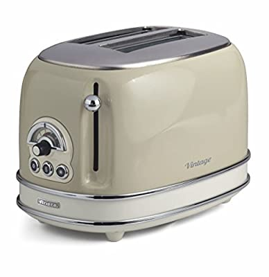 Ariete 0155/13 Retro Style 2 Slice Toaster, 6 Browning Levels and Removable Crumb Tray, Vintage Design, Stainless Steel