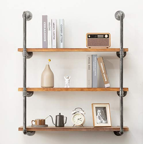 DOFURNILIM Industrial Iron Pipe Wall Shelf Shelves Shelving Brackets Vintage Retro Black DIY Open Bookcases/Floating Shelves/Storage Office Home Kitchen (3-Tier with 35.4' Planks)