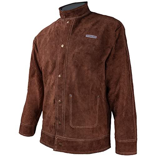YESWELDER Welding Jacket Cowhide Leather Welding Coat Heat Flame Resistant Heavy Duty Weld Clothes for Men Women
