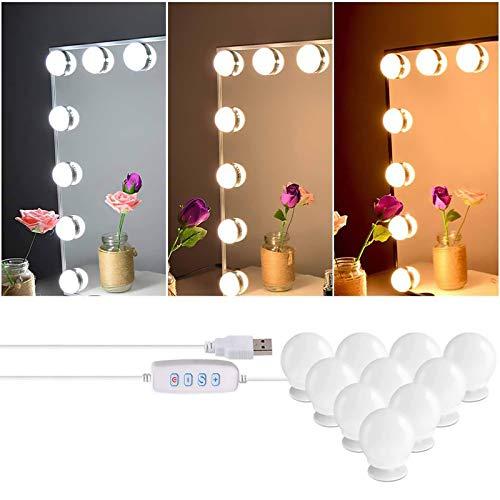 Spiegel Beleuchtung, 10 LED Spiegelleuchte Schminktisch Beleuchtung mit 3 Farbe Modus und 10 Dimmbare Hollywood Stil Schminktisch Spiegel Lichter für Spiegel,Kosmetikspiegel, Schminktisch (1.9inch)