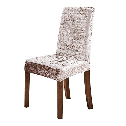 LBY Crushed Velvet Dining Chair Abdeckung Spandex Elastic Stuhlbezug Esszimmer-Stuhl-Fall for Küche Hochzeitsbankett (Color : Taupe, Specification : 1pcs)