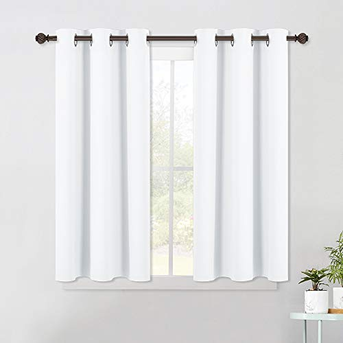NICETOWN Window Draperies Curtains Panels - Blocking Out 50% Sunlight Curtains, Grommet Top Small Window Drapes for Bedroom (2 Panels, 42 by 45, White) Michigan