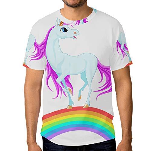 FANTAZIO - Camiseta de Manga Corta para Hombre, diseño de Unicornio en arcoíris 1 XL