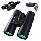 QNIGLO Binoculars for Adult with Smartphone Photograph Adapter, 10X42 Light Binoculars for Birds Watching Hunting Sports, Adults Binocular Large Eyepiece FMC Objective Lens for Travel Football Sights