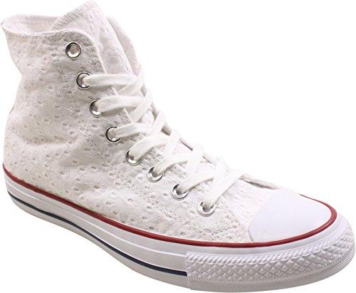 Converse mujeres Chuck Taylor All Star HI zapatillas de deporte blanco/granate/Clematis azul mujer, blanco (Blanco/Granate/Clematis), 36 EU