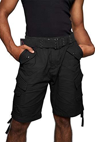 normani Herren Sommer-Shorts Bermuda Sommerhose Kurze-Hose Freizeithose Vintage-Short mit Gürtel bis 5XL - 100% nachhaltige Bio-Baumwolle Farbe Schwarz Größe L