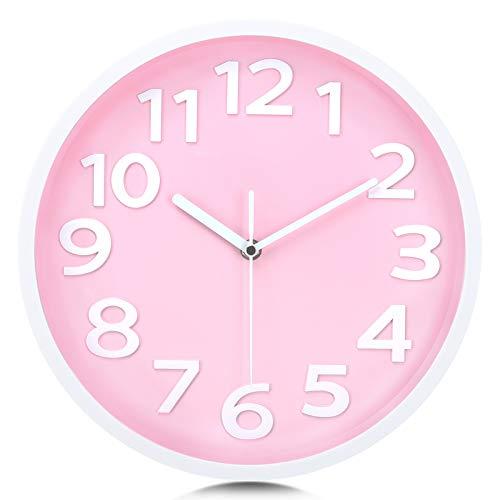 Lafocuse Reloj de Pared Caramelo Rosa Números 3D Grandes Reloj de Cuarzo Educativo Silencioso Fácil de Leer para Chicas Salon Habitacion Escuela 30cm