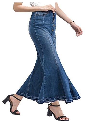 Cheerlife Damen Langer Jeansrock hohe Taille Bodycon Bleistiftrock Elegant Fischschwanzrock Maxiröcke Jeansskirt 33 Blau