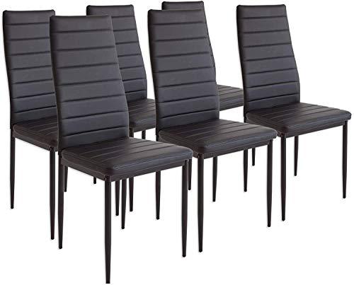 Lot de Chaises de Salle à Manger, Chaise Moderne 40x47x98cm pour Salle à Manger, Cuisine, Salle de Réunion (6X Noir)