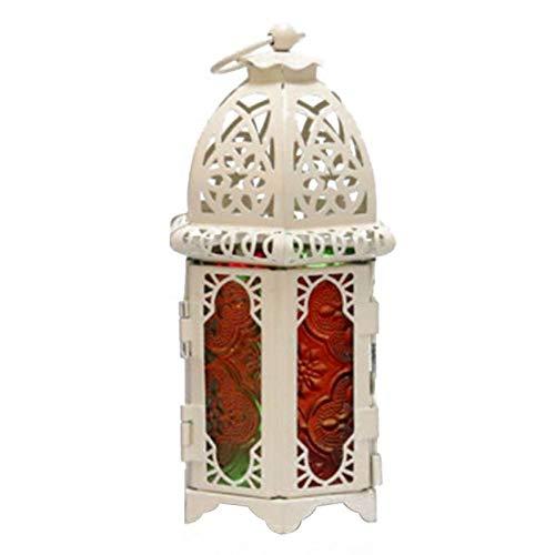 NMKL Lamp Holle Kaarsenhouder Binnen Gemakkelijk installeren IJzeren Glas Lantaarn Hung Of Geplaatst Ramadan Thuis Tuin Decor