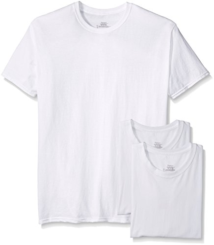 Hanes Men's 3-Pack Tagless Crew Neck T-Shirt, White, Large
