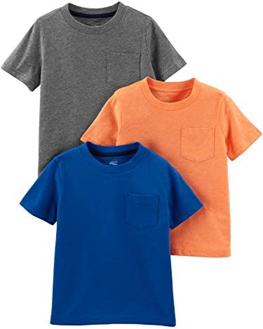 Simple Joys by Carter s Boys Toddler 3 Pack Solid Pocket Short Sleeve Tee Shirts Grey Orange product image