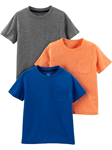 Simple Joys by Carter's Boys' Toddler 3-Pack Solid Pocket Short-Sleeve Tee Shirts, Grey/Orange/Royal Blue, 3T