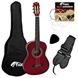 Tiger CLG4-RD 3/4 Size Classical Spanish Guitar Pack - Red