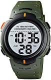 Gosasa Outdoor Sport Watch 100M Waterproof 10 Year Battery Digital Watch Men Fashion Led Light Stopwatch Dual Time Wrist Watch (Green)