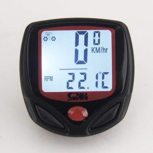 JohnJohnsen Back-Light Sunding Bici de la computadora del velocímetro Impermeable sin Hilos de la computadora del Ciclo odómetro de la Bicicleta de múltiples Funciones de la Pantalla LCD (Negro)
