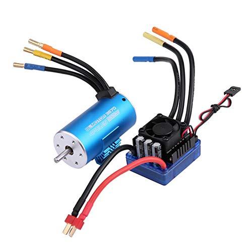 Demeras RC Motor ESC Combo RC Parts Combo 120A Brushless ESC 3670 2650KV Motor de 4 Polos para 1/8 Accesorio de Coche
