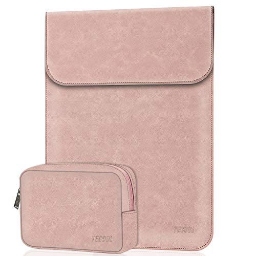 TECOOL 15 Inch Laptop Sleeve Case with Accessory Bag Faux Suede Leather Portable Cover Compatible for 2012-2018 Macbook pro 15 A1990/ A1707/ A1398,Lenovo Ideapad 330s, HP Pavilion x360,Pink