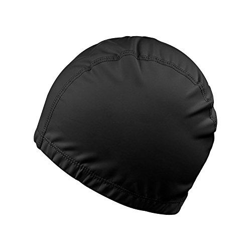 Gorro de Natación, REACHOPE Elástico Impermeable PU Tela Proteja los Oídos y Pelo Largos Deportes de la Nadada de Gorro de Baño - Negro
