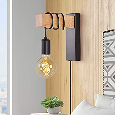 Farmhouse Plug in Wall Sconce, Black Wall Lamp for Bedroom Bedside Reading Living Room Industrial Wood Wall Mounted Lights Fixture with On/Off Switch Decor Lighting with Plug Cord(E26 Bulb Excluded)