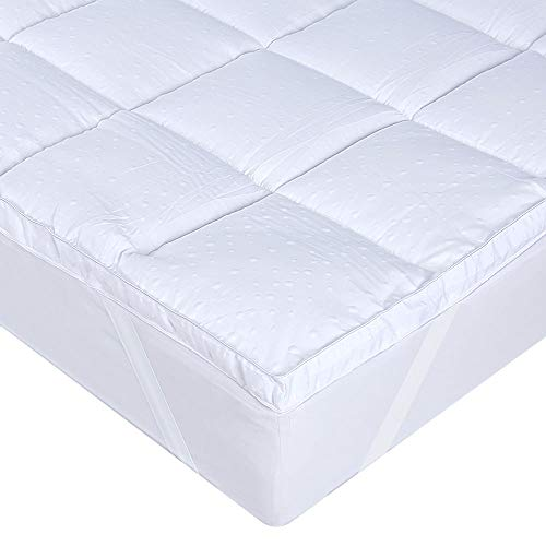 UMI.Essentials Ultra Soft Mattress Topper Protector Microfibre Double Filled Quilted & Elasticated Corner Straps - European Double (4'6ft)