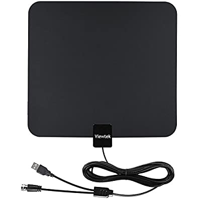Viewtek 50mile Range Amplified HDTV Receiver ,13Ft Copper Coaxial Cable with USB Power Supply