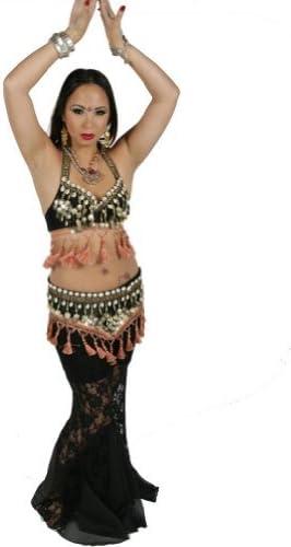 Miss Belly Dance Pantalons de Dentelle tribales Danse du Ventre Soutien-Gorge et tribus Ensemble de Costume de Ceinture de pera Coquille Pantalon Sort pour Femme
