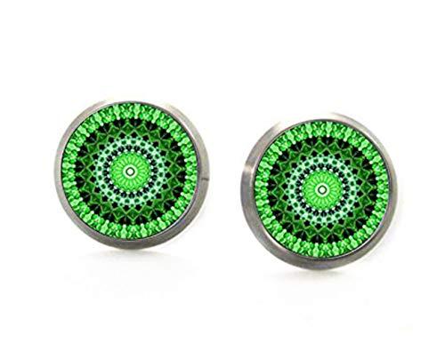 Elf House pendientes de caleidoscopio verde, pendientes de mandala verde, pendientes verdes, joyería de cristal cúpula puro hecho a mano