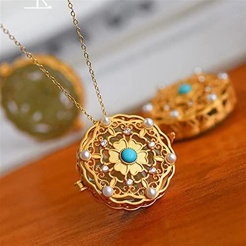 YZDKJ Natural Hetian Jade se Puede Abrir Collar Colgante Chino Estilo Retro único Antiguo artesanía de Oro Lujo Noble joyería de Plata (Gem Color : Necklace 45 cm)