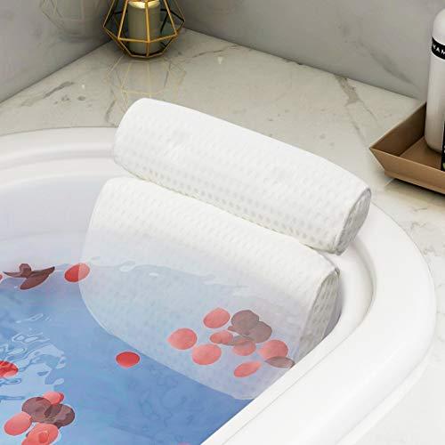 Homease Badewannenkissen 4D Air Mesh Technologie, SPA Badekissen/Nackenkissen mit Saugnapfe, Badezimmerkissen zur Unterstützung von Nacken, Rücken und Schultern, schützt die Halswirbelsäule, Weiß