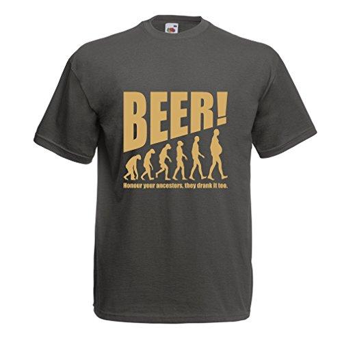 lepni.me Camisetas Hombre The Beervolution - Ideas Divertidas únicas sarcásticas del Regalo para los Amantes de la Cerveza, evolución de consumición (Large Grafito Oro)