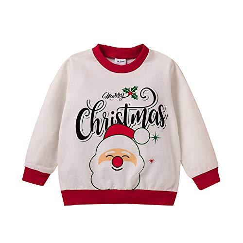 Kleinkind Weihnachtsmann bedrucktes T-Shirt Langarm Rundem Hals T-Shirts Jungen...