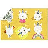 Lindo animales conejo amarillo alfombra de área grande para sala...