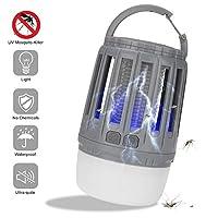 屋内屋外のベッドルームキッチンオフィスキャンプハイキング用LEDモスキートキラーランプザッパーライトIP67防雨USB充電式無毒安全,グレー