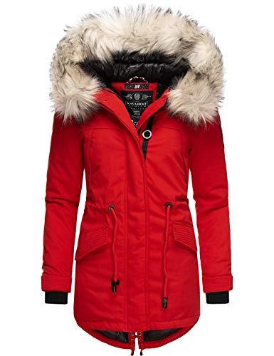 Navahoo Damen Wintermantel Winterparka mit abnehmbarem Kunstfell Lady Like Rot Gr. M