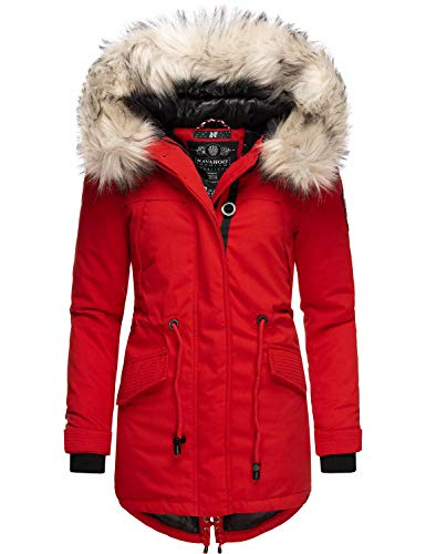 Navahoo Damen Wintermantel Winterparka mit abnehmbarem Kunstfell Lady Like Rot Gr. XS