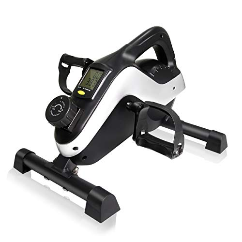 IDEER LIFE Under Desk&Stand Up Exercise Bike,Mini Elliptical Trainers Stepper Pedal w/Adjustable Resistance and LCD Display,Fitness Exercise Peddler for Home&Office Workout (White Blue 09023)