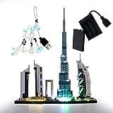 GEAMENT Conjunto de Luces LED para Architecture Dubái (Dubai) - Compatible con Lego 21052 de Bloques de construcción (Juego Lego no Incluido) (con Instrucciones)