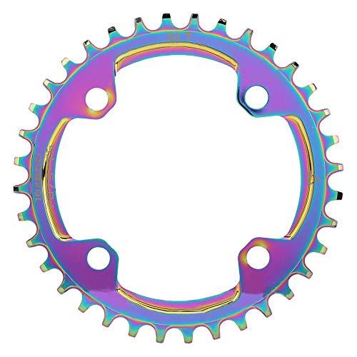 VGEBY Plato de Bicicleta 104BCD Bicicleta de montaña Positivo Negativo Diente Disco Cadena Plato de Rueda Colorido Chapado Color(32T)