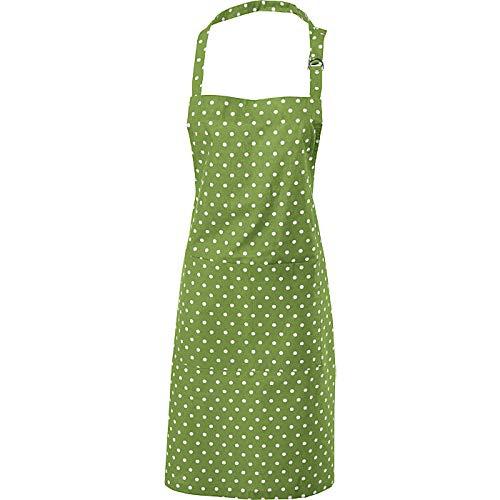 REDBEST Schürze Punkte, 100% Baumwolle grün Größe 75x90 cm - verstellbare Halsschlaufe, große aufgesetzte Tasche, Robustes, glattes Gewebe (weitere Farben)