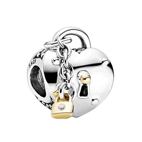 LILANG Pandora Jewelry Bracelet 925 Natural Winter Nuevas Cuentas de Plata esterlina Corazón Lock Charm Fit Original Christmas DIY Gifts para Mujeres